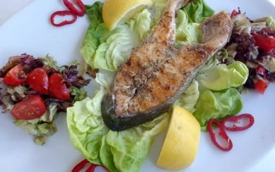 Fresh Salmon served with salad
