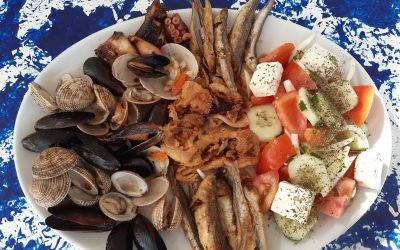 Mix Seafood and Greek Salad dish.